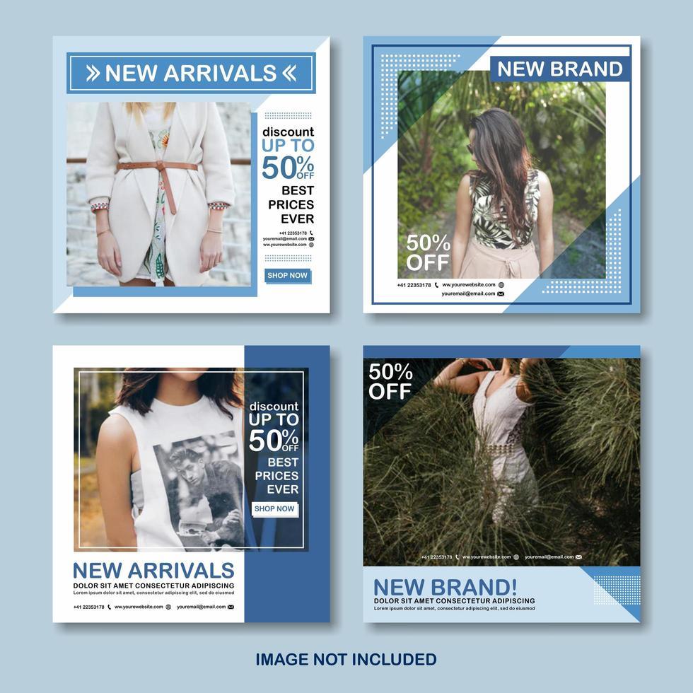 conjunto de publicaciones de redes sociales de moda azul vector