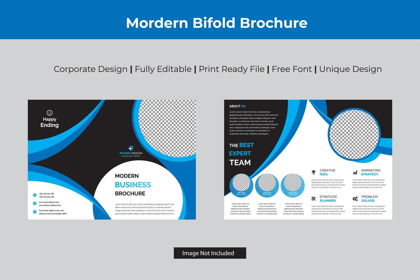 Cyan and Black Corporate Bi-fold Template vector