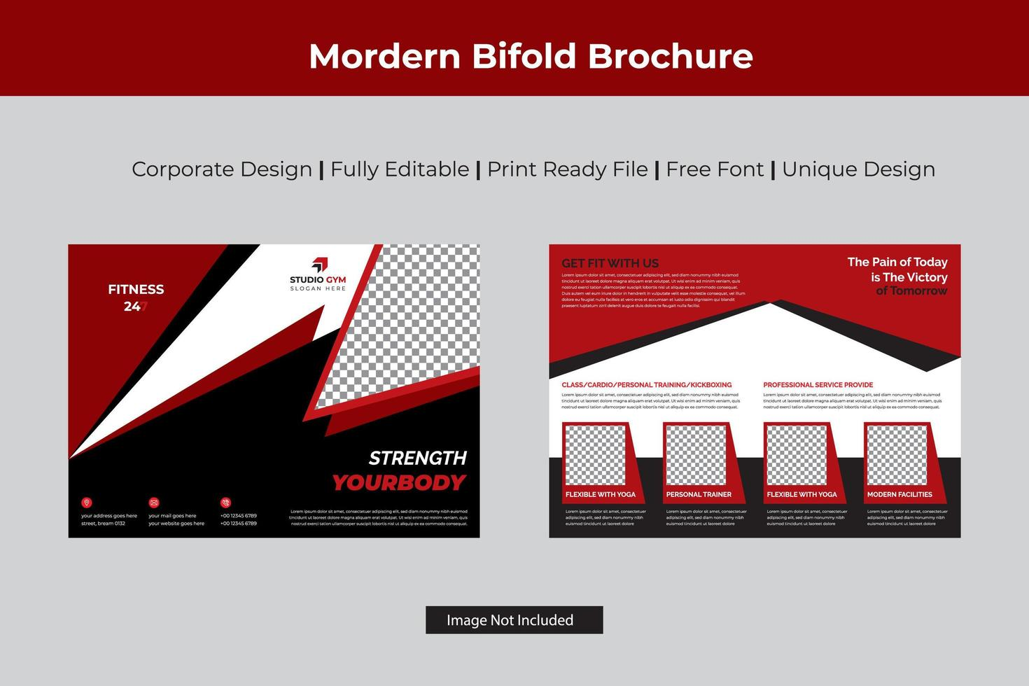 diseño de folleto bi-fold dinámico en forma de triángulo vector