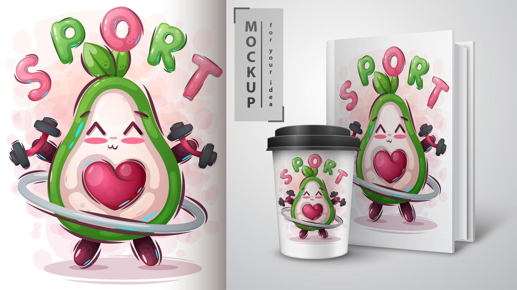 fitness avocado poster en merchandising vector