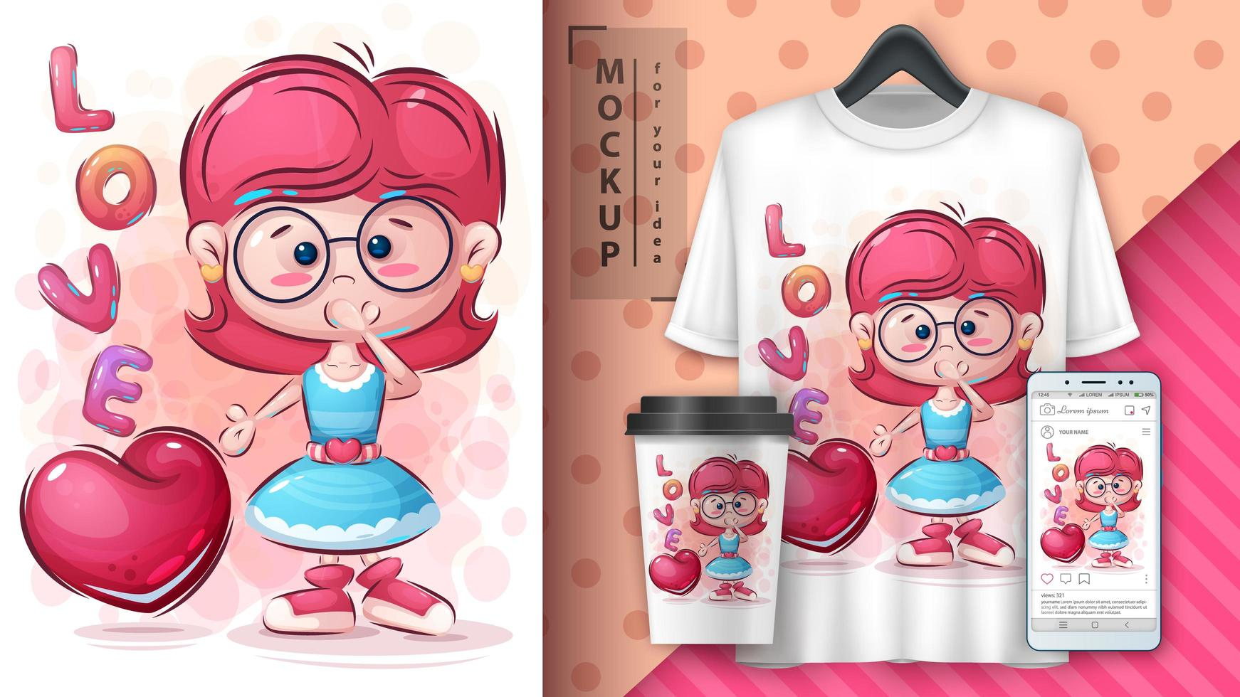 ragazza cartone animato con poster di cuore vettore