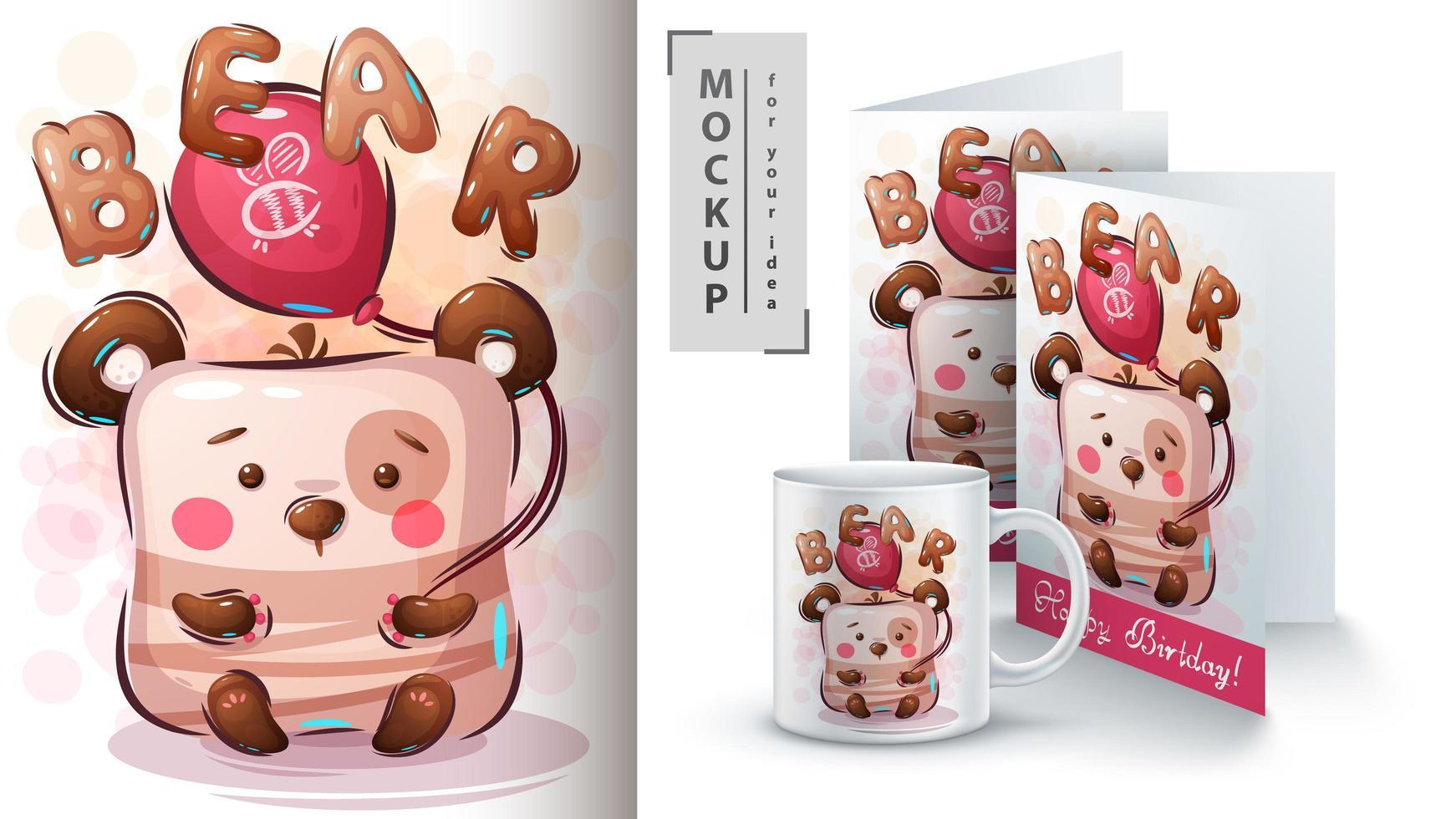 cartaz e merchandising de balão de ar de urso vetor