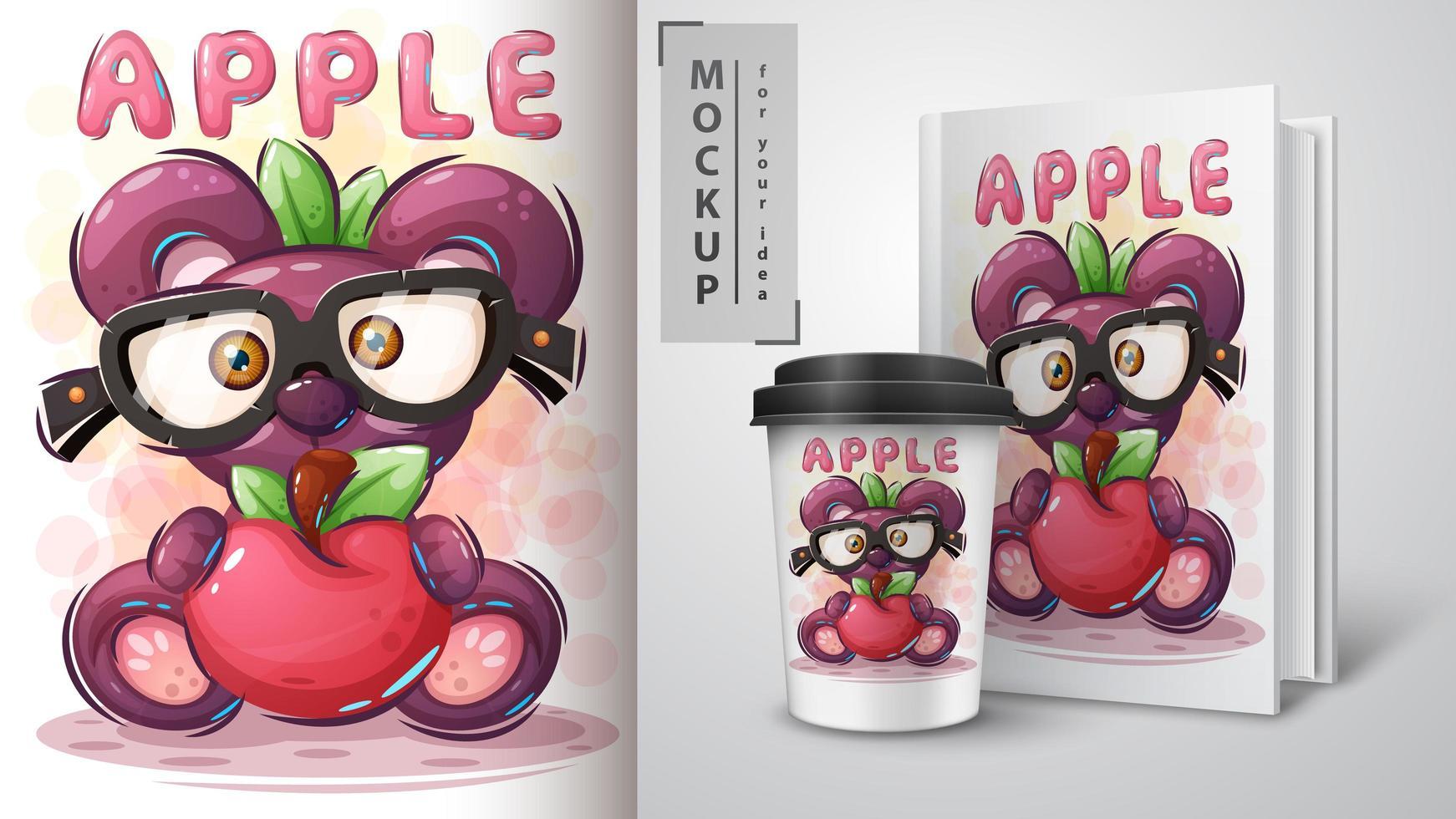 dulce oso y manzana poster vector