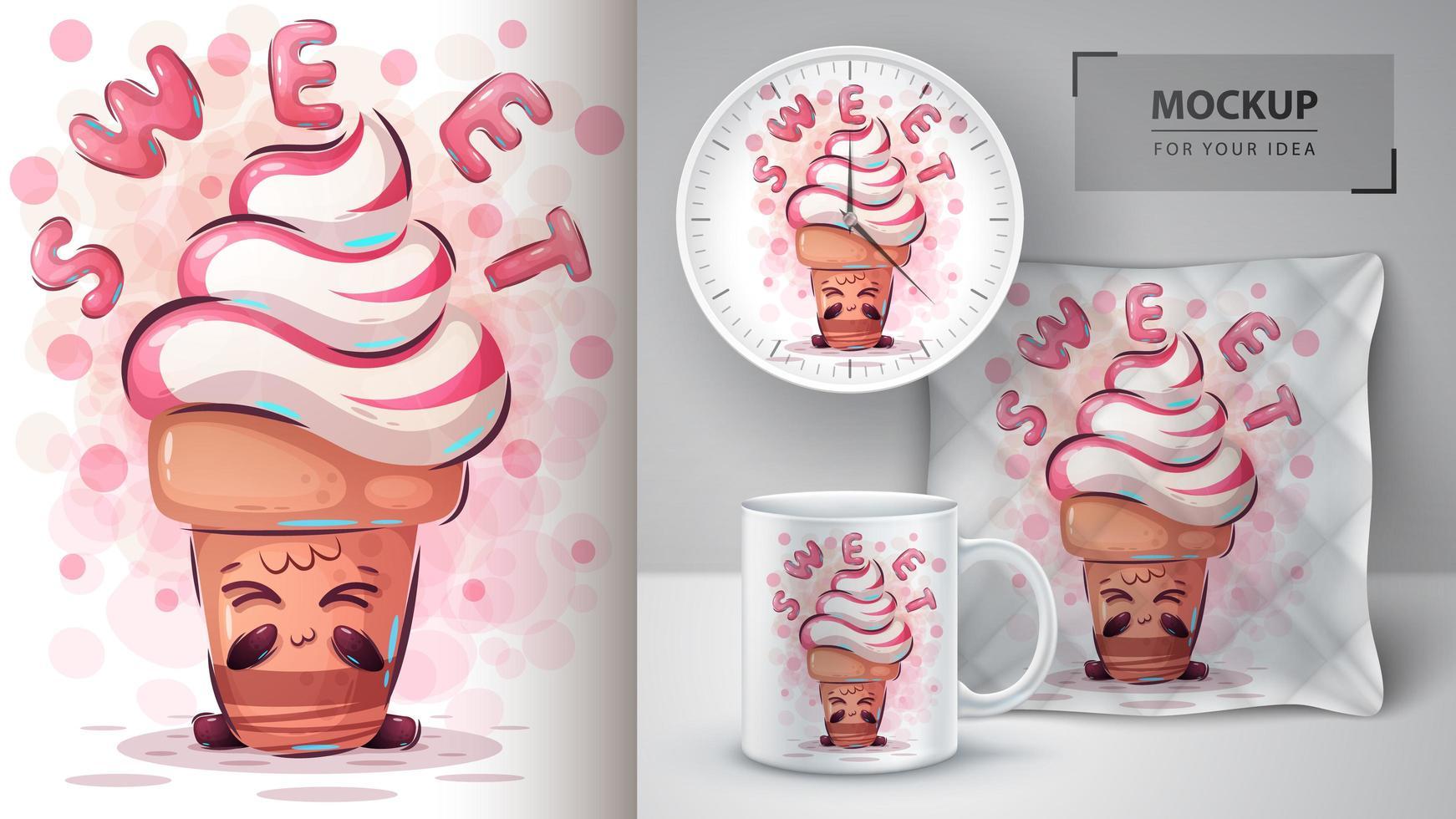 cartel rosado dulce del cono de helado vector