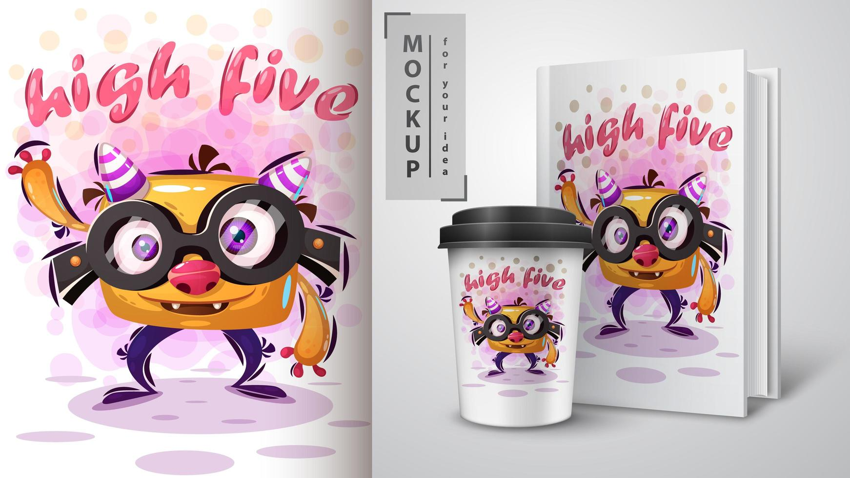 Funny Monster with Glasses High Five Glasses  vector