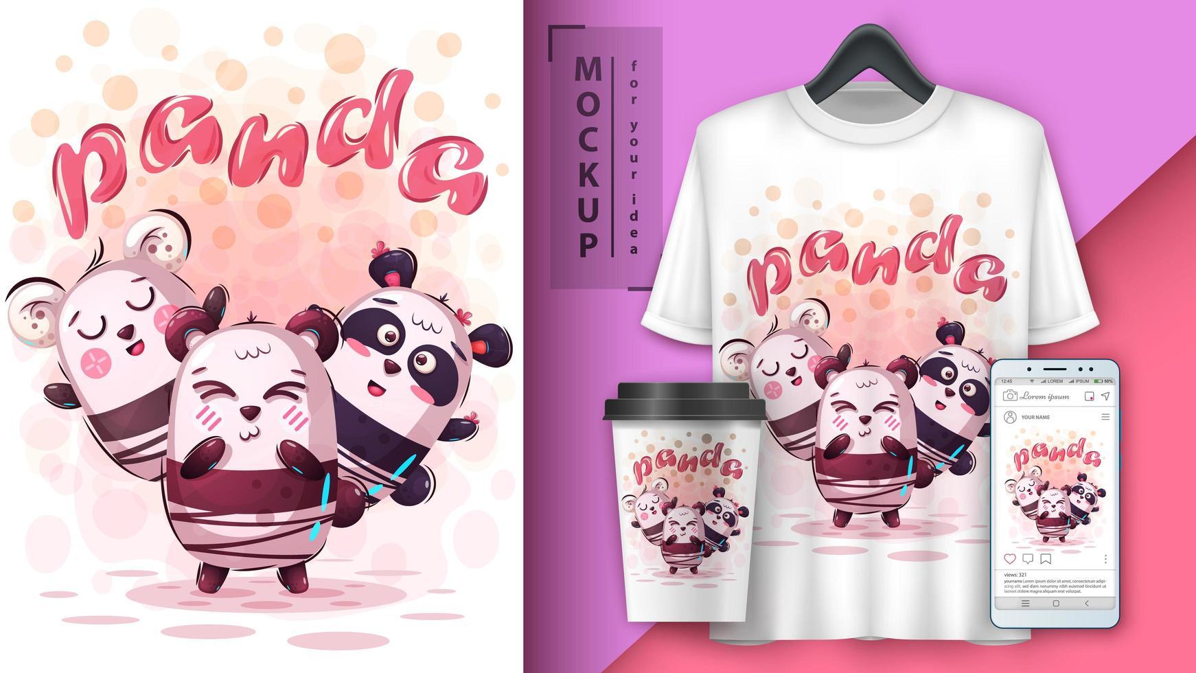 poster di amici panda dei cartoni animati vettore