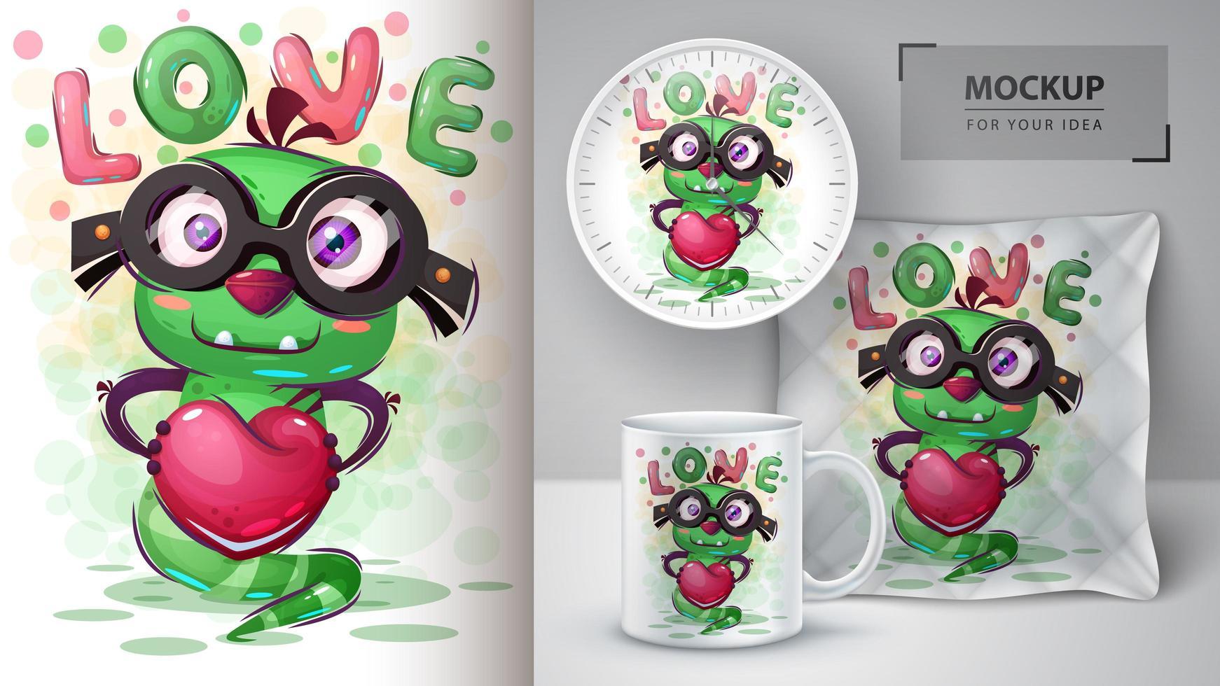 monstruo de amor con cartel de corazón vector