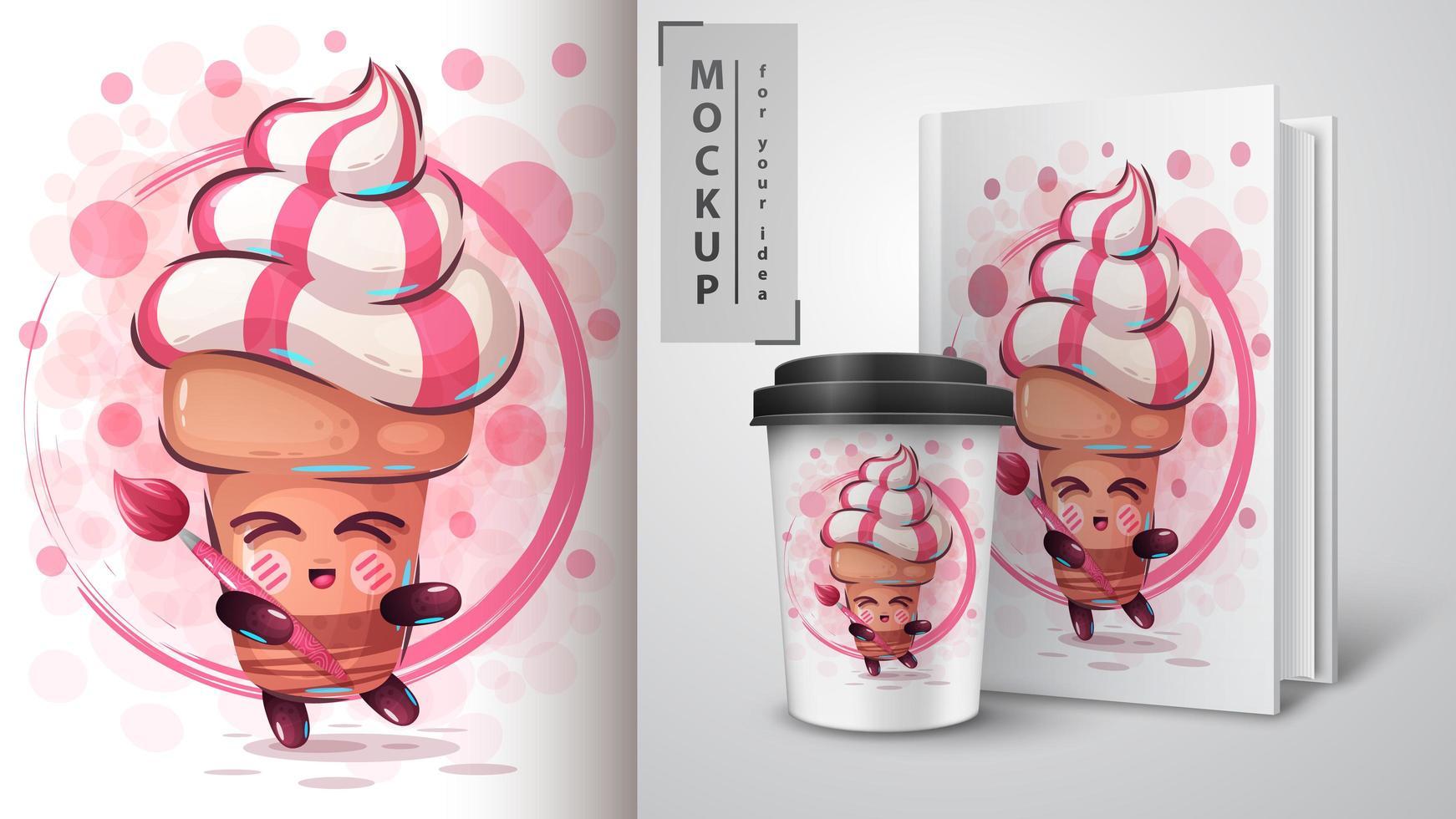 cartel de cono de helado de artista vector