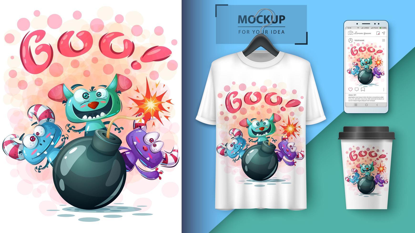 Cartoon Monsters Boo Poster  vector