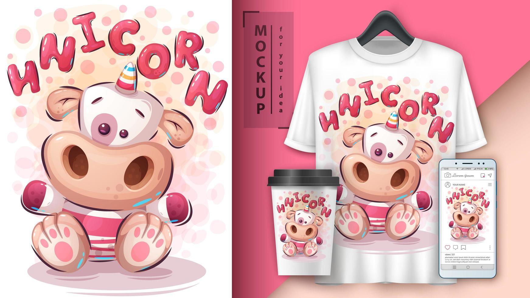 poster e merchandising dell'unicorno dell'orsacchiotto vettore