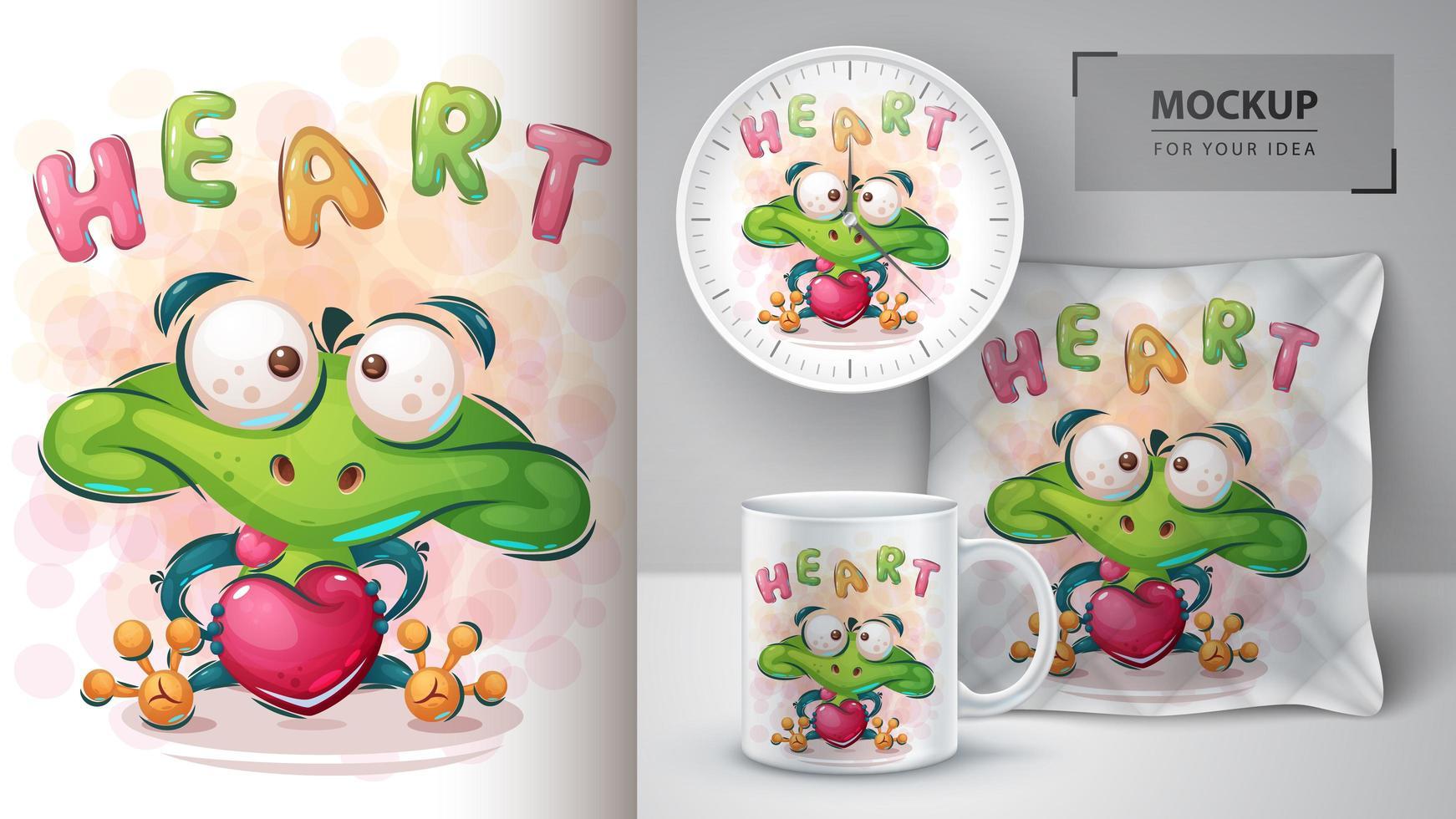 Love Frog Heart Poster vector