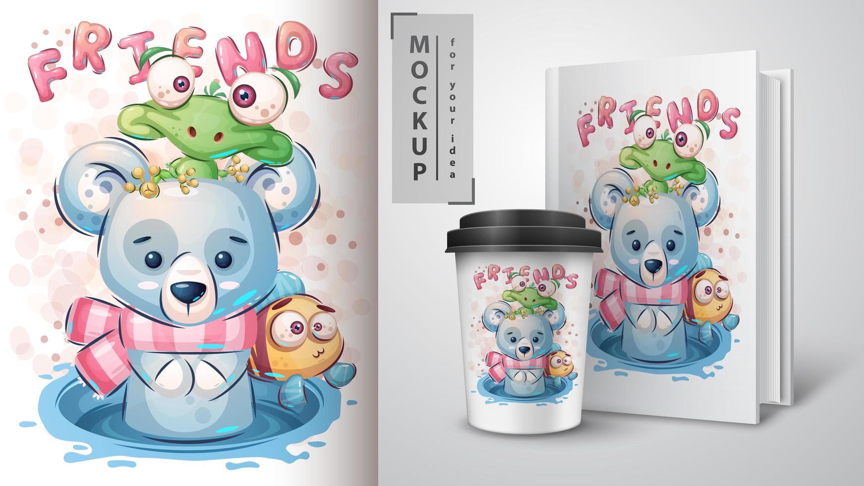 Cute Polar Bear and Turtle Poster  vector
