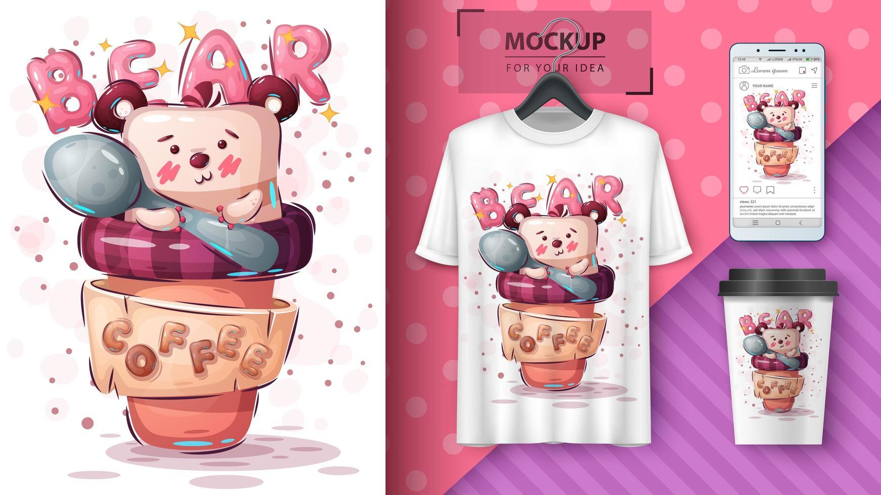 oso en cartel de la taza de café vector