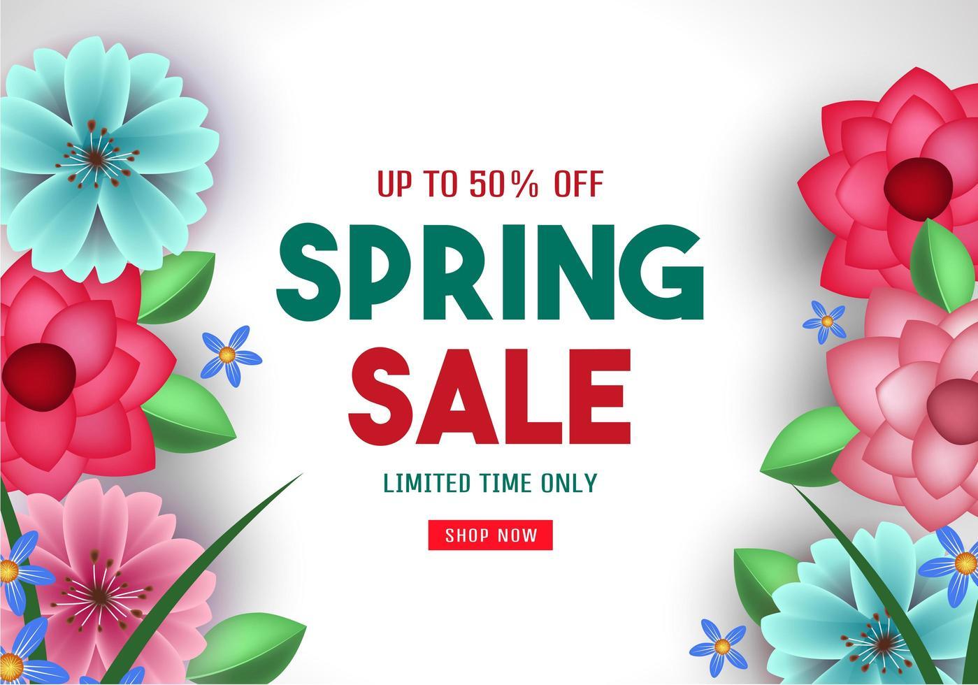 cartel de venta de primavera con bordes de flores vector