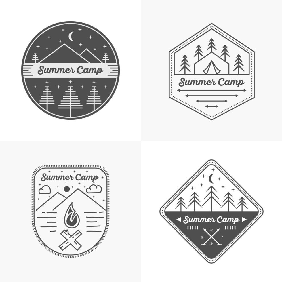conjunto de logo de campamento de verano vector