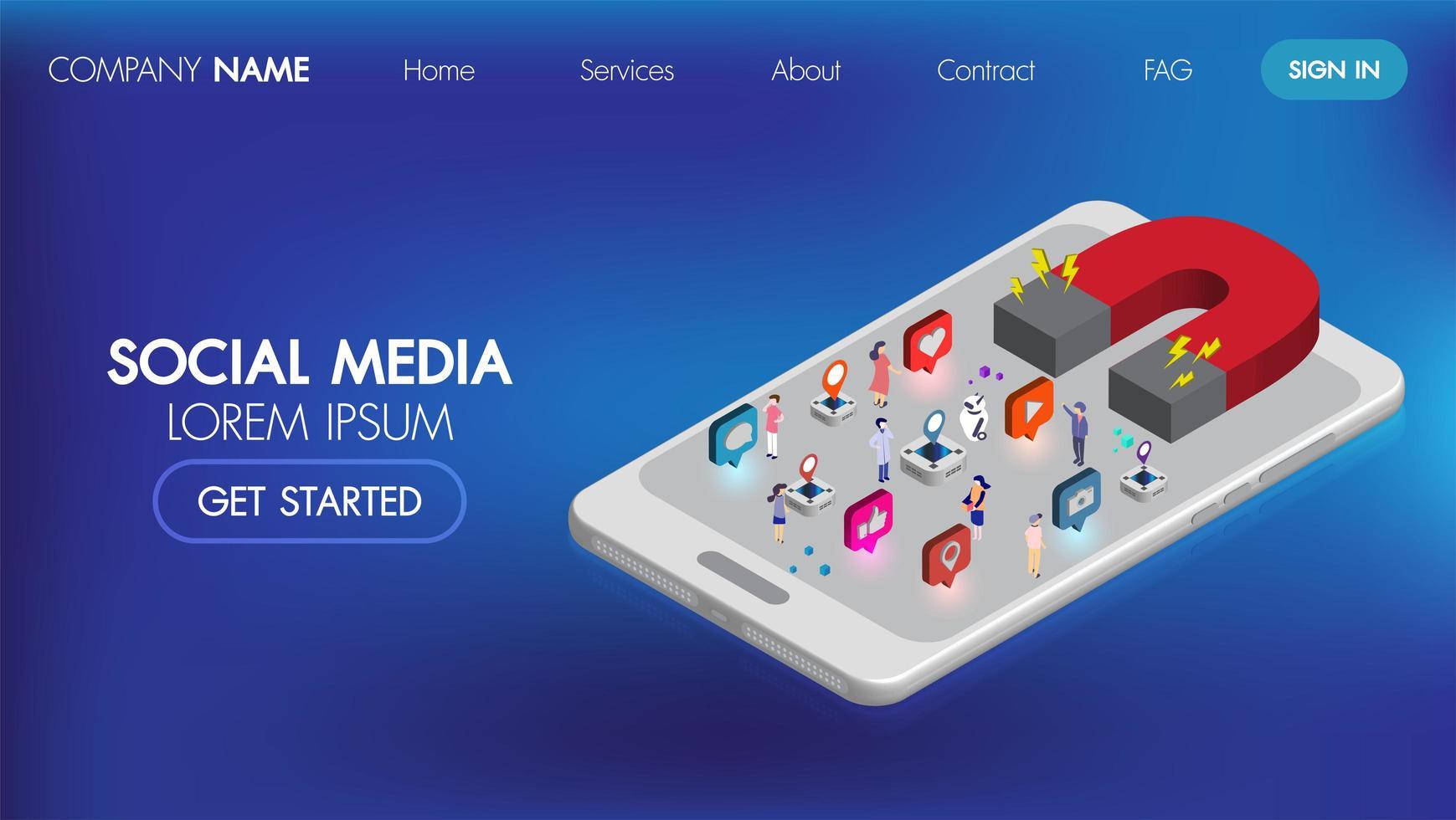 Página de inicio isométrica de marketing en redes sociales con personajes vector