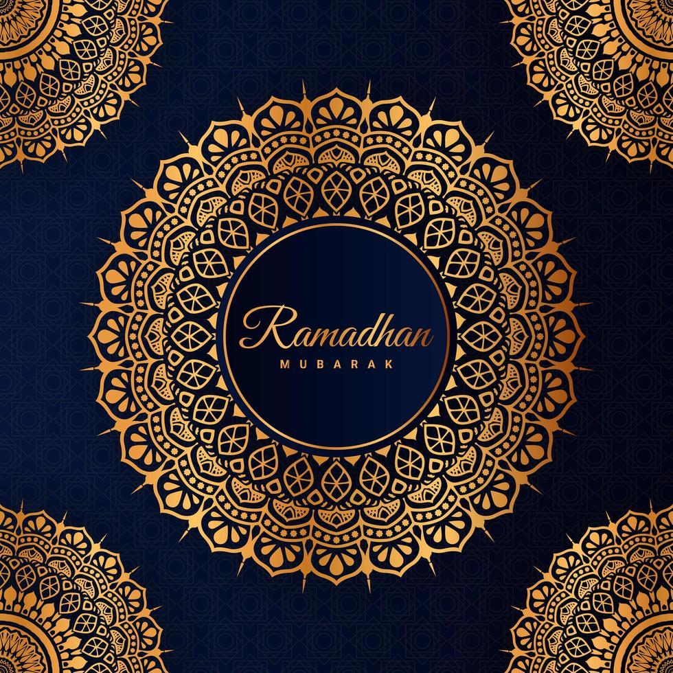 Elemento gráfico de mandala de oro de Ramadán para vacaciones islámicas vector