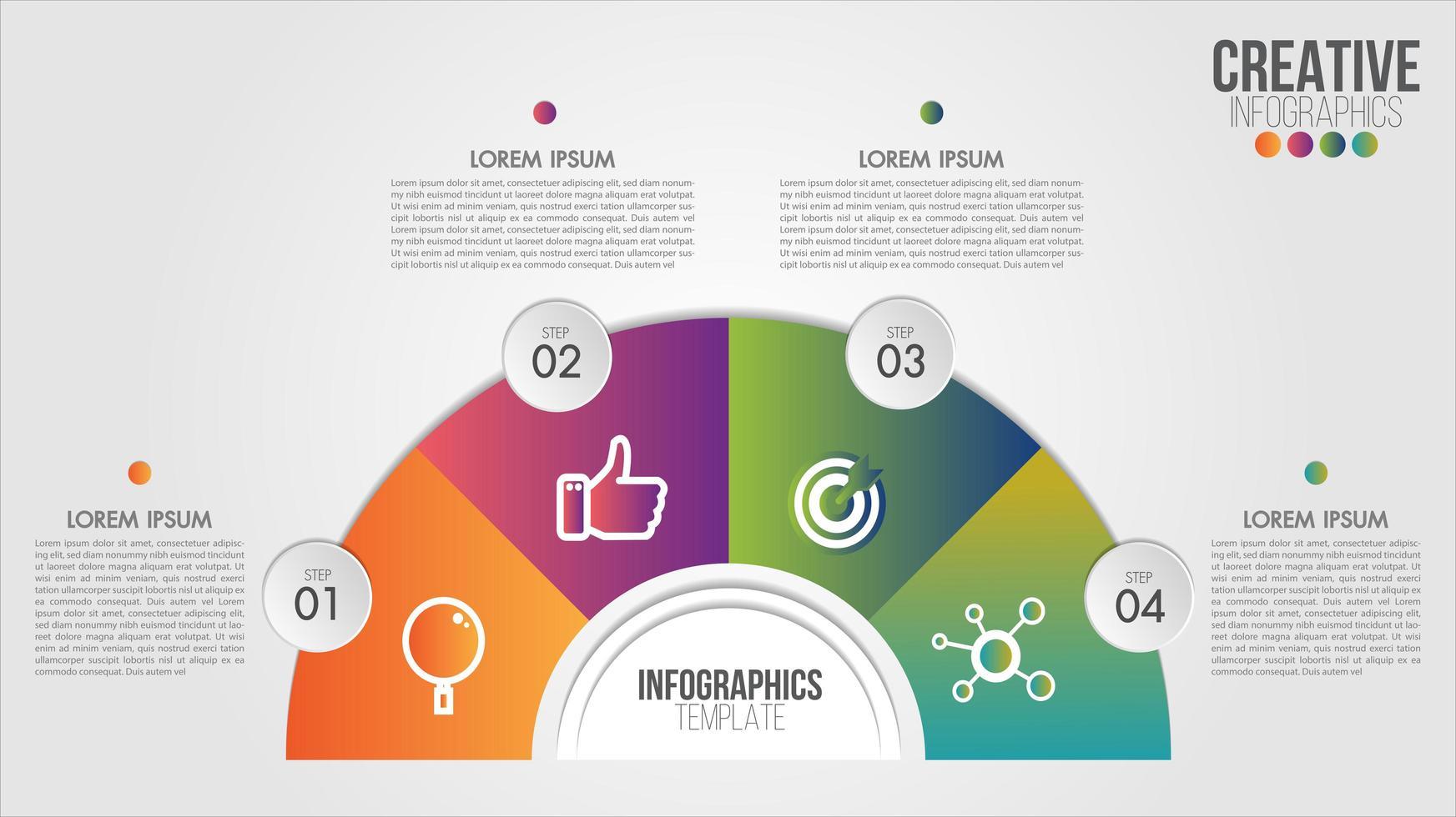 plantilla de medio círculo de infografía para negocios y cartera vector