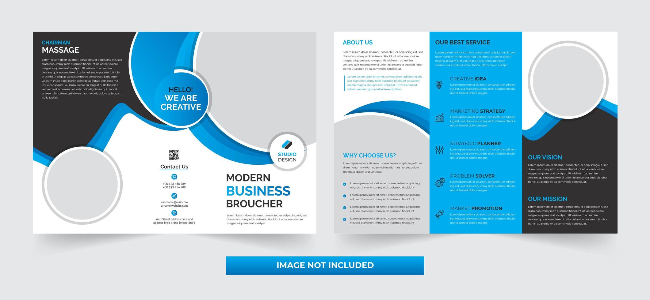 diseño de plantilla tríptico corporativo empresarial simple vector