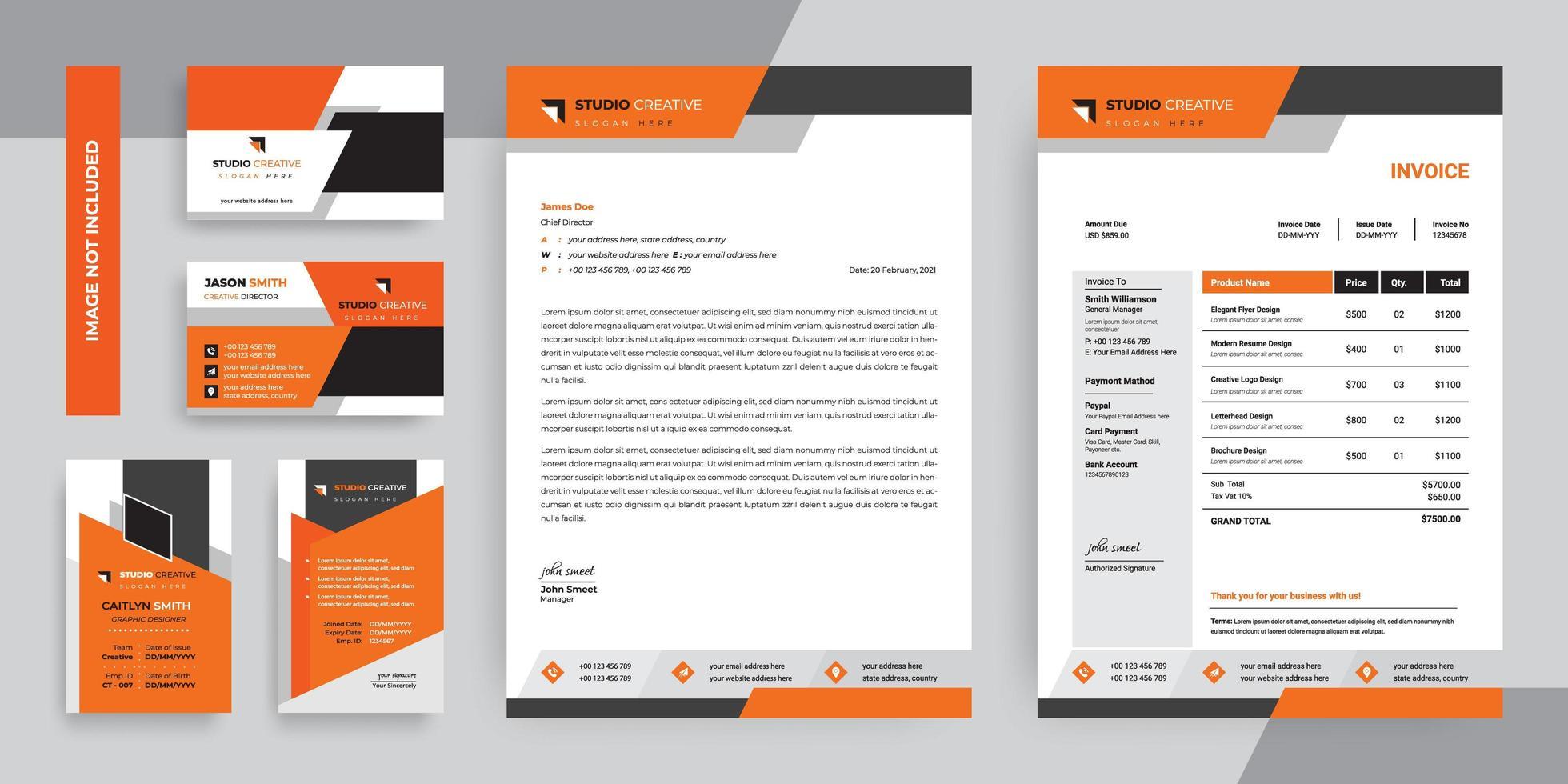 conjunto de plantillas de papelería de negocios moderno naranja y negro vector