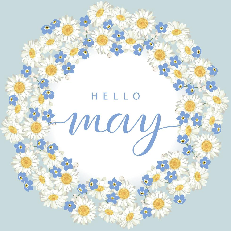 Hello May card with flower wreath vector