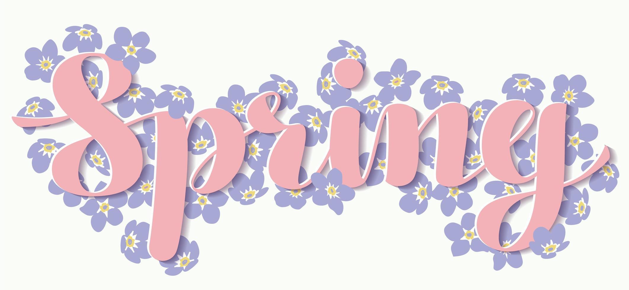 letras de primavera rosa con flores de color púrpura vector