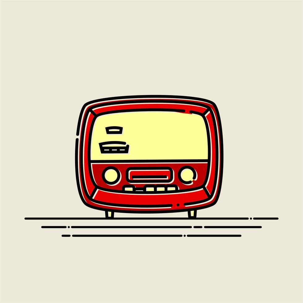 radio vintage rojo vector