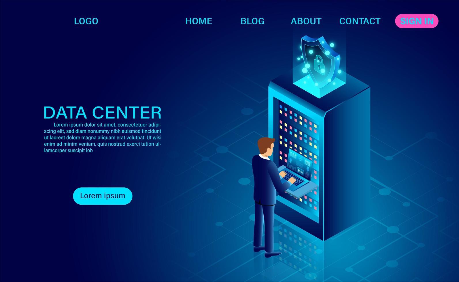 sala de servidores del centro de datos con el hombre en la computadora portátil vector