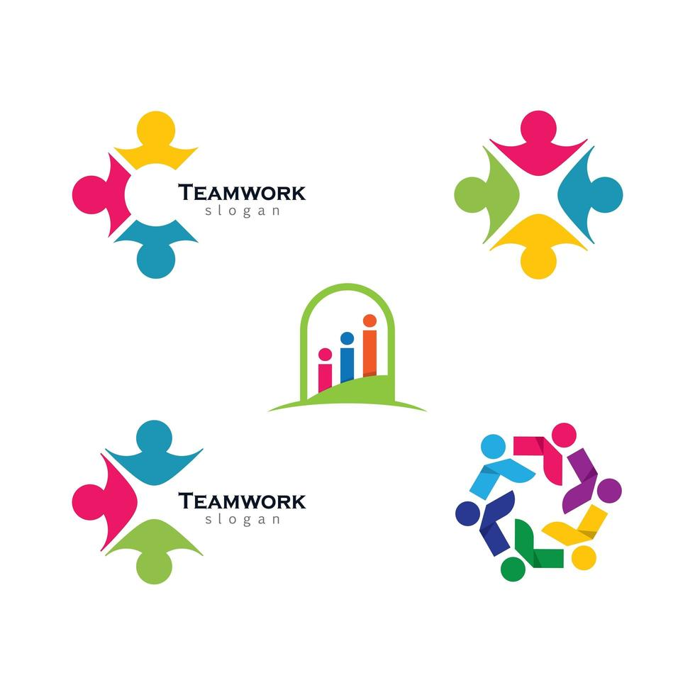 Multicolor Business Teamwork Logo Set vector