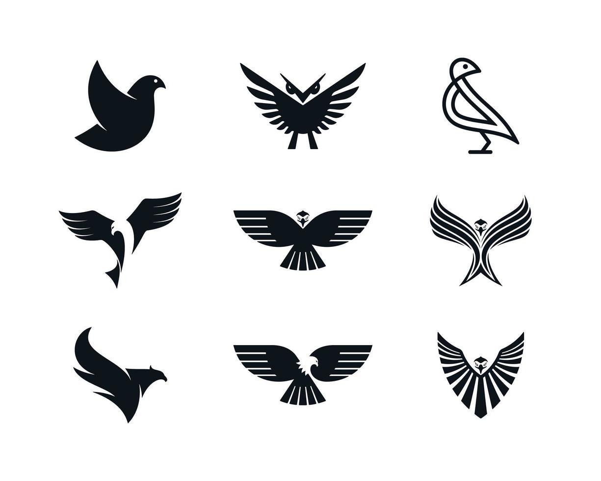 águila, paloma, fénix, y, búho, iconos vector