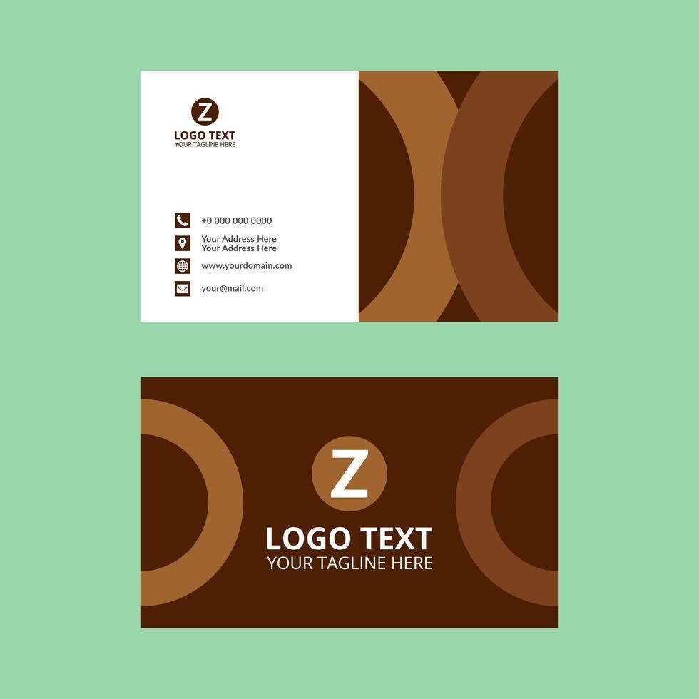 tarjeta de visita de medio círculo marrón vector
