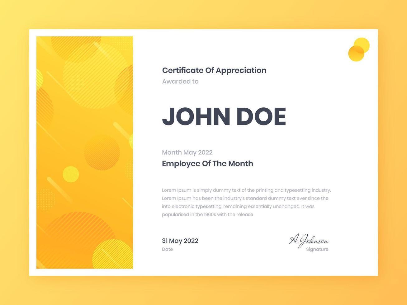 certificado de empleado de moda del mes vector