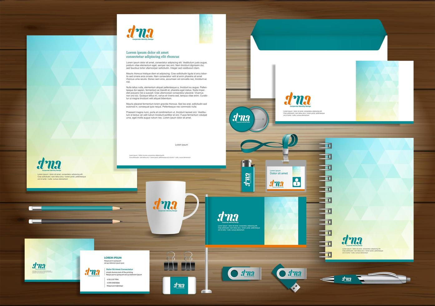 Blue and Yellow Triangle Identity Set and Promotional Items vector