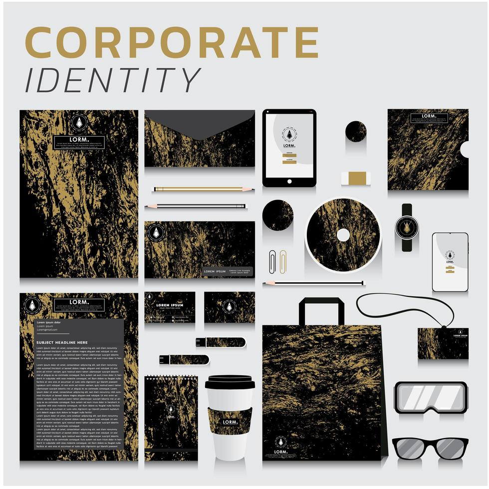 Identidad corporativa de textura dorada establecida para negocios y marketing vector