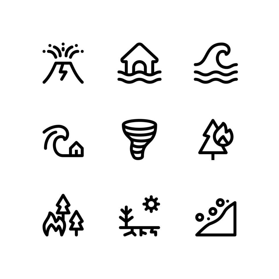 iconos de línea de desastre que incluyen volcán, inundación y más vector