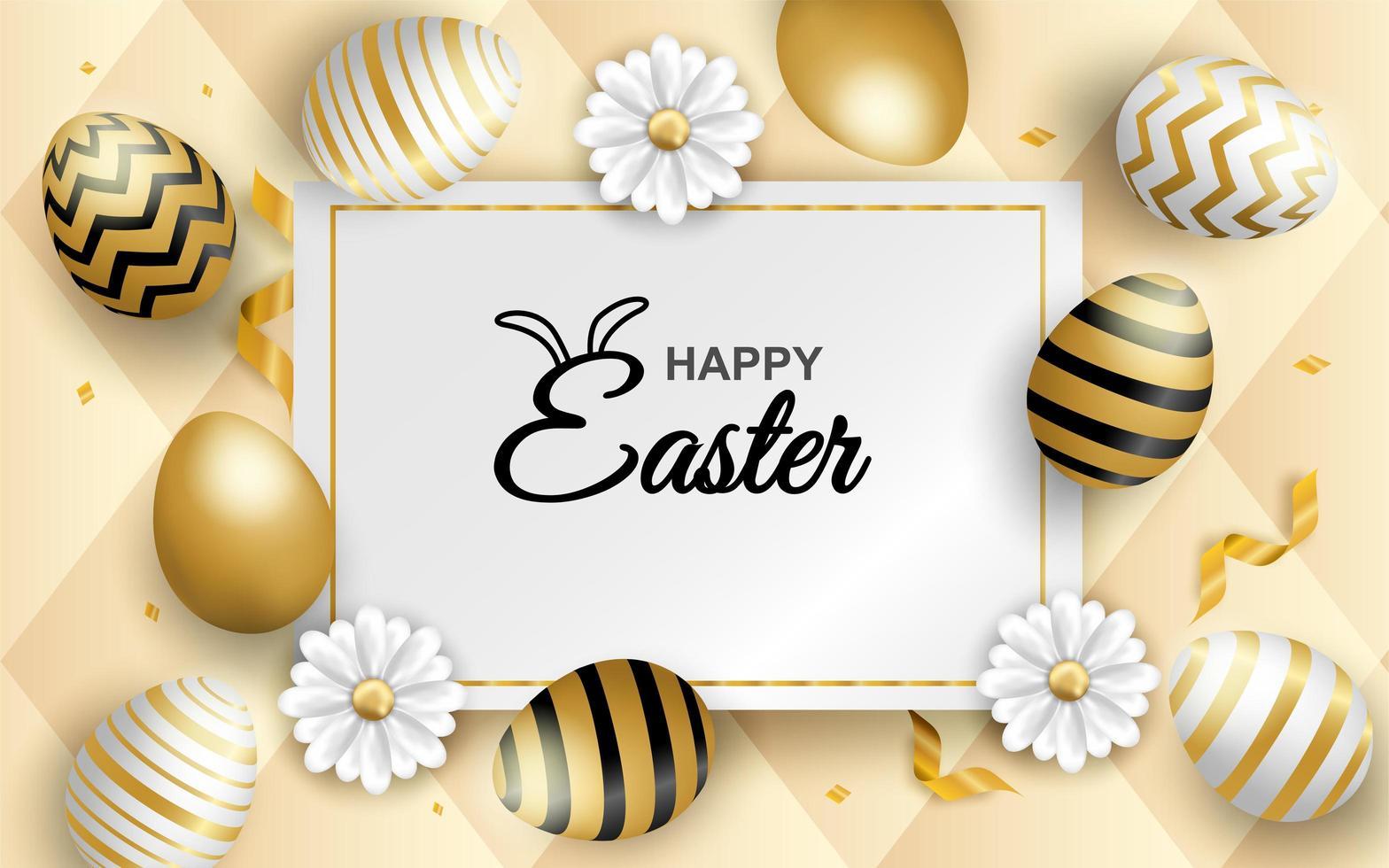 huevo de Pascua dorado y blanco sobre fondo suave en relieve vector