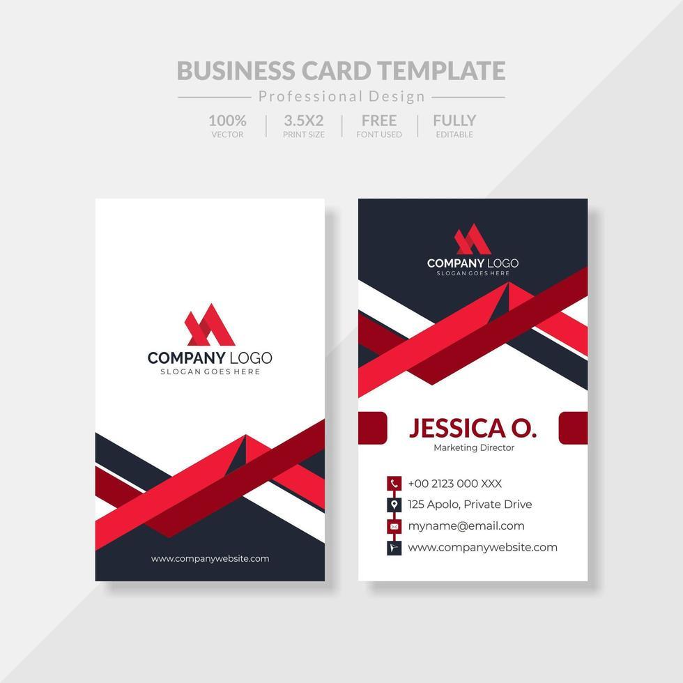 elegante tarjeta de visita roja vertical vector