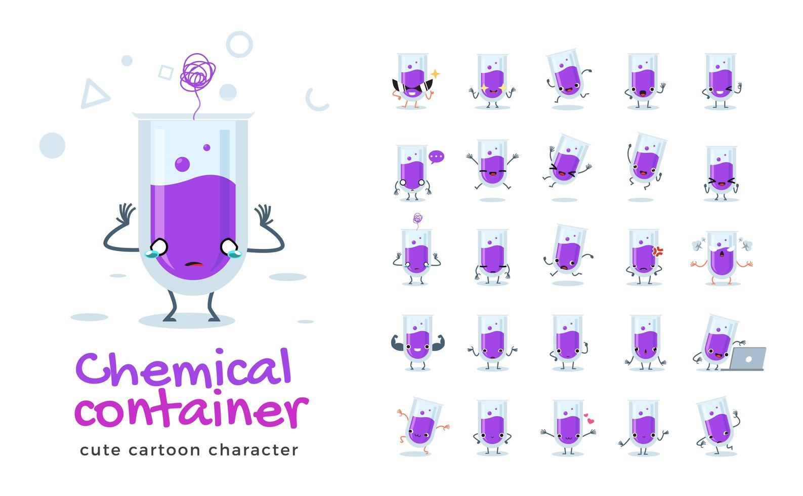 conjunto de caracteres de la mascota del tubo químico vector