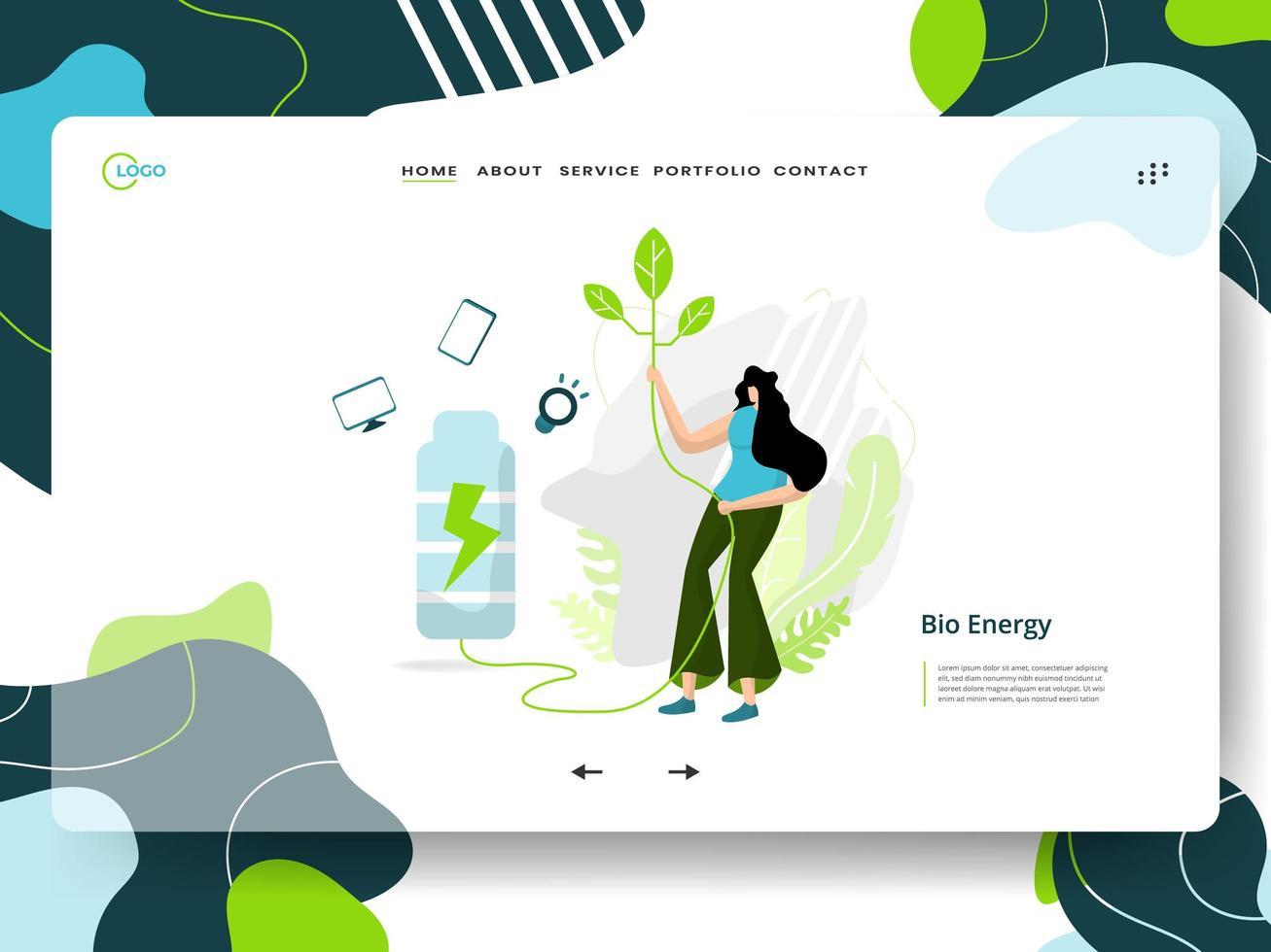 página de inicio de bioenergía vector
