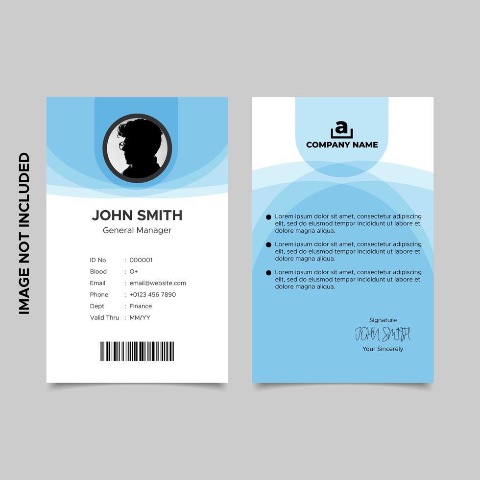 Wavy Blue Employee ID Card Template vector