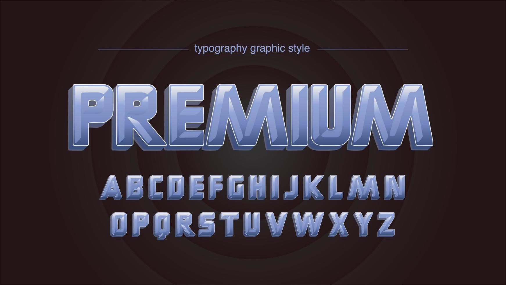 tipografia maiuscola 3d lucido grassetto blu vettore