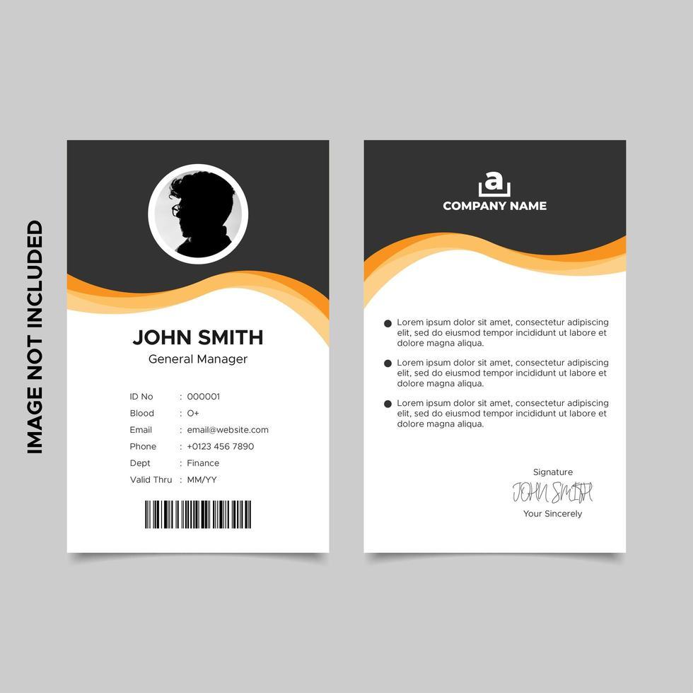plantilla de tarjeta de identificación de empleado negro naranja ondulado vector