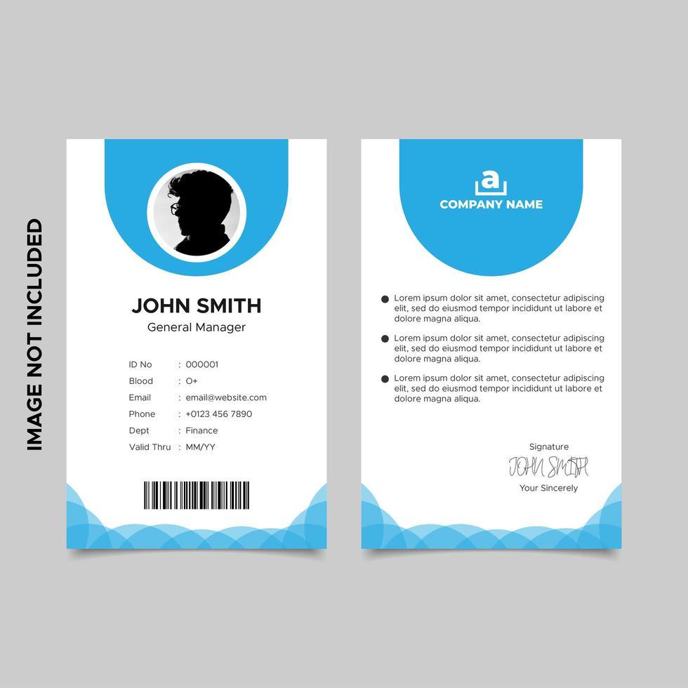 conception de modèle de carte d'identité d'employé bleu minimal vecteur