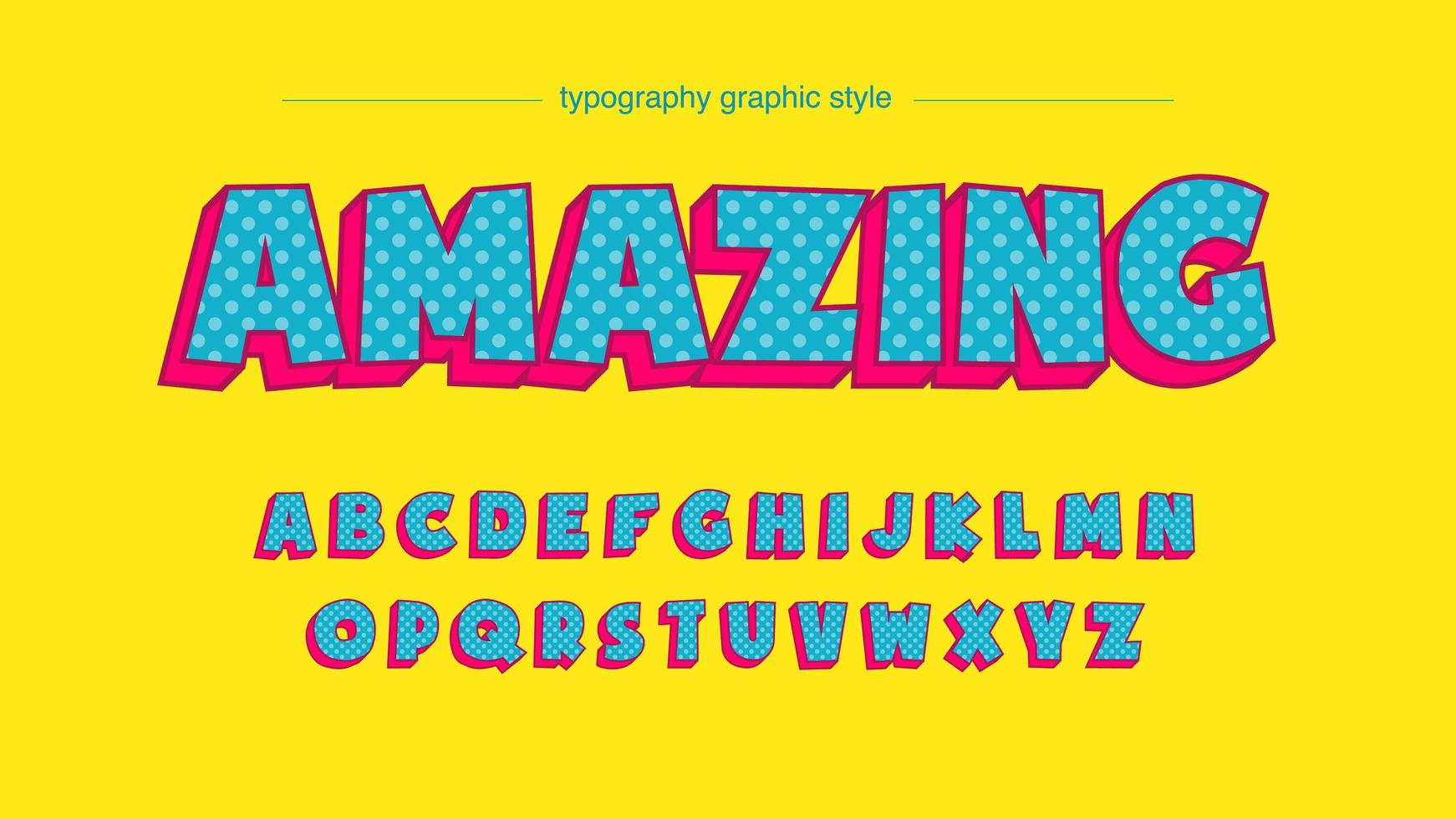 blå polka dot fet 3d-tecknad typografi vektor