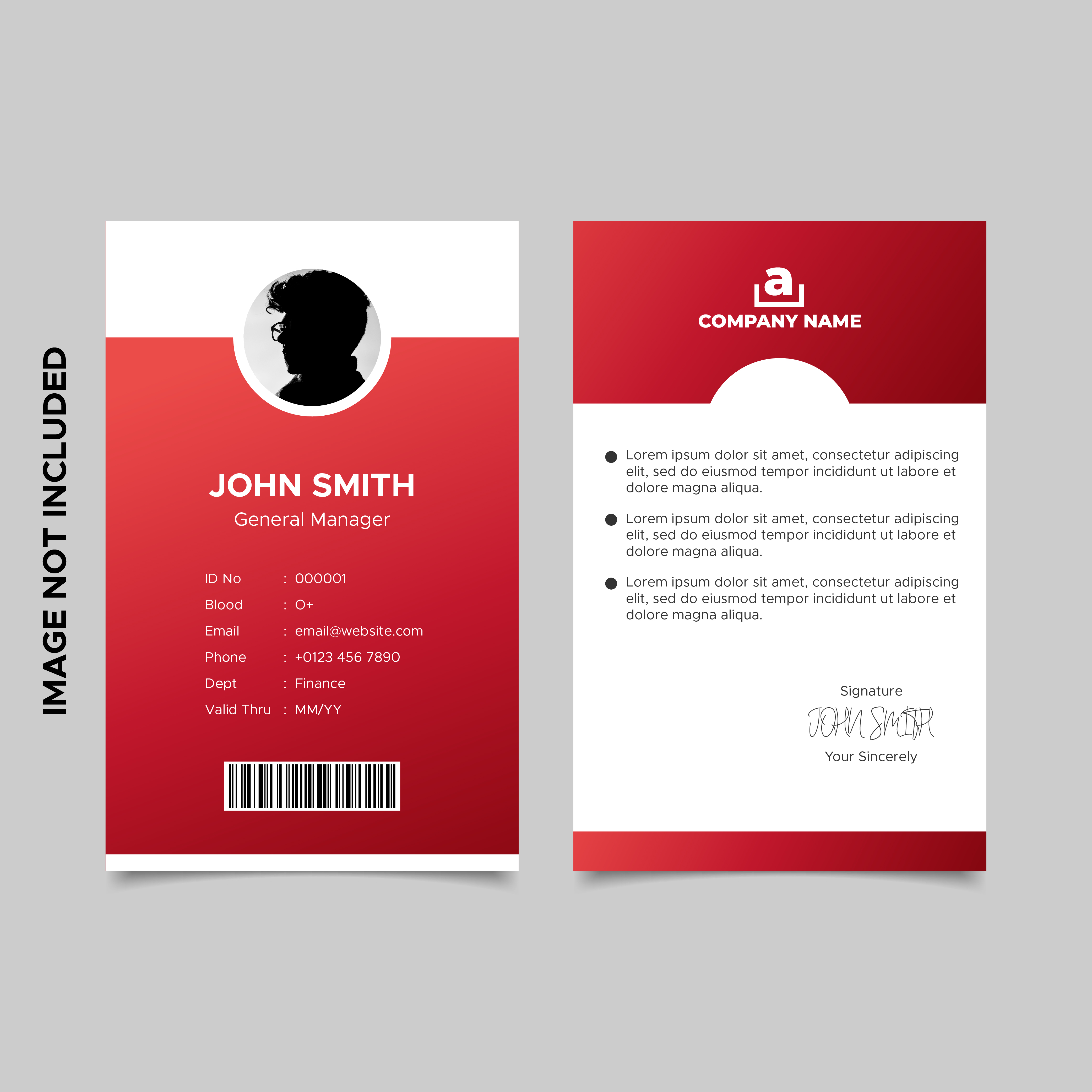 Red Employee Id Card Template 21 Vector Art at Vecteezy In Template For Id Card Free Download