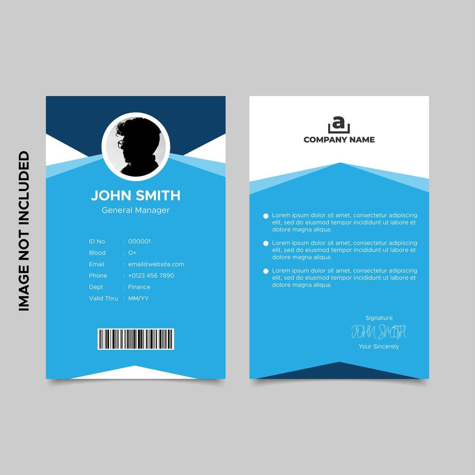 modelos azuis geométricos mínimos do cartão de identificação do empregado vetor