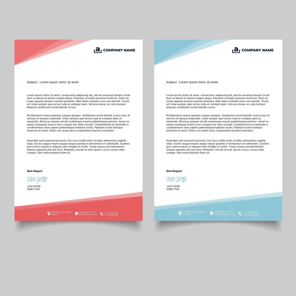Red and Blue Business Letterhead Template vector