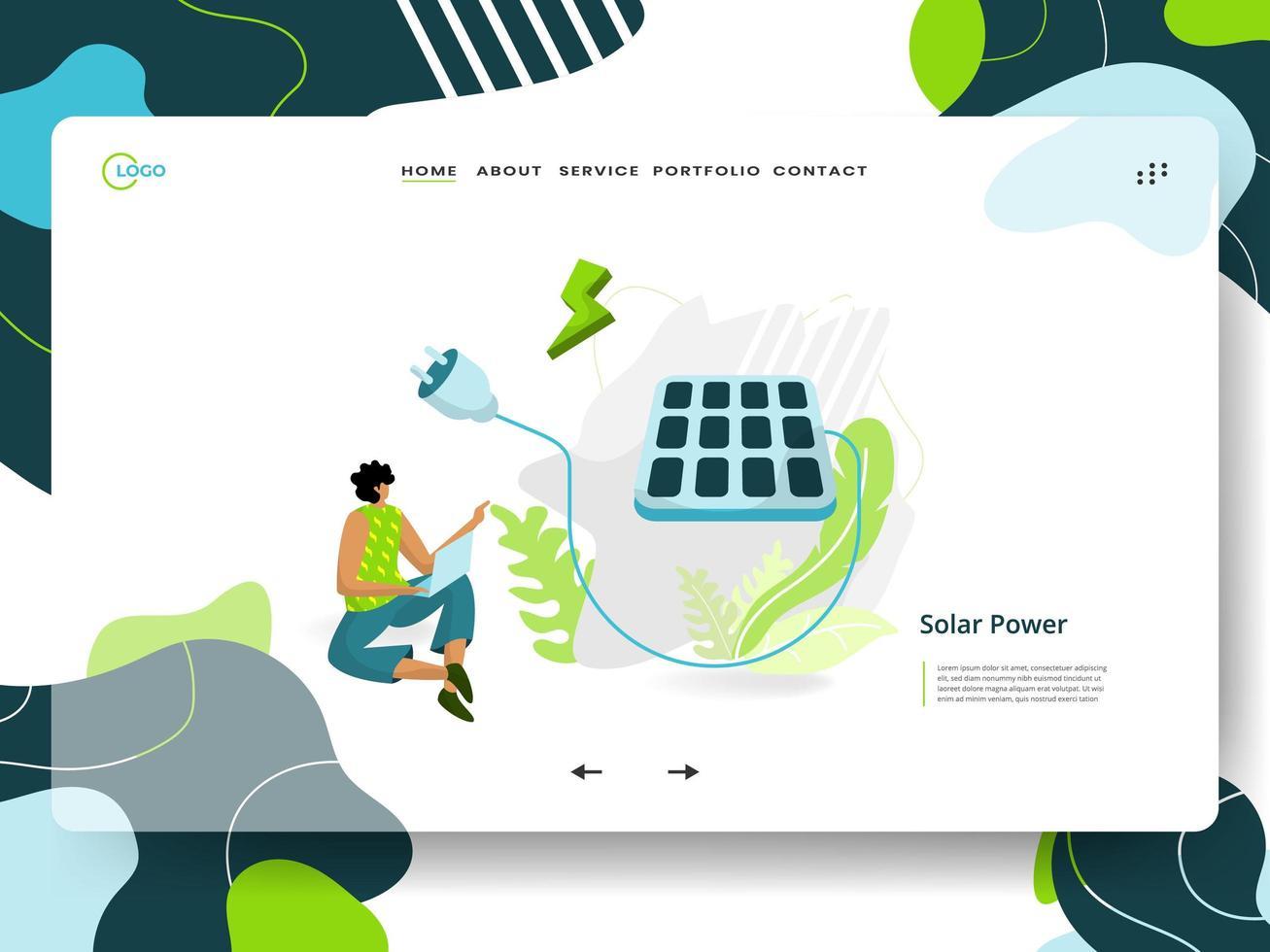página de inicio de energía solar vector