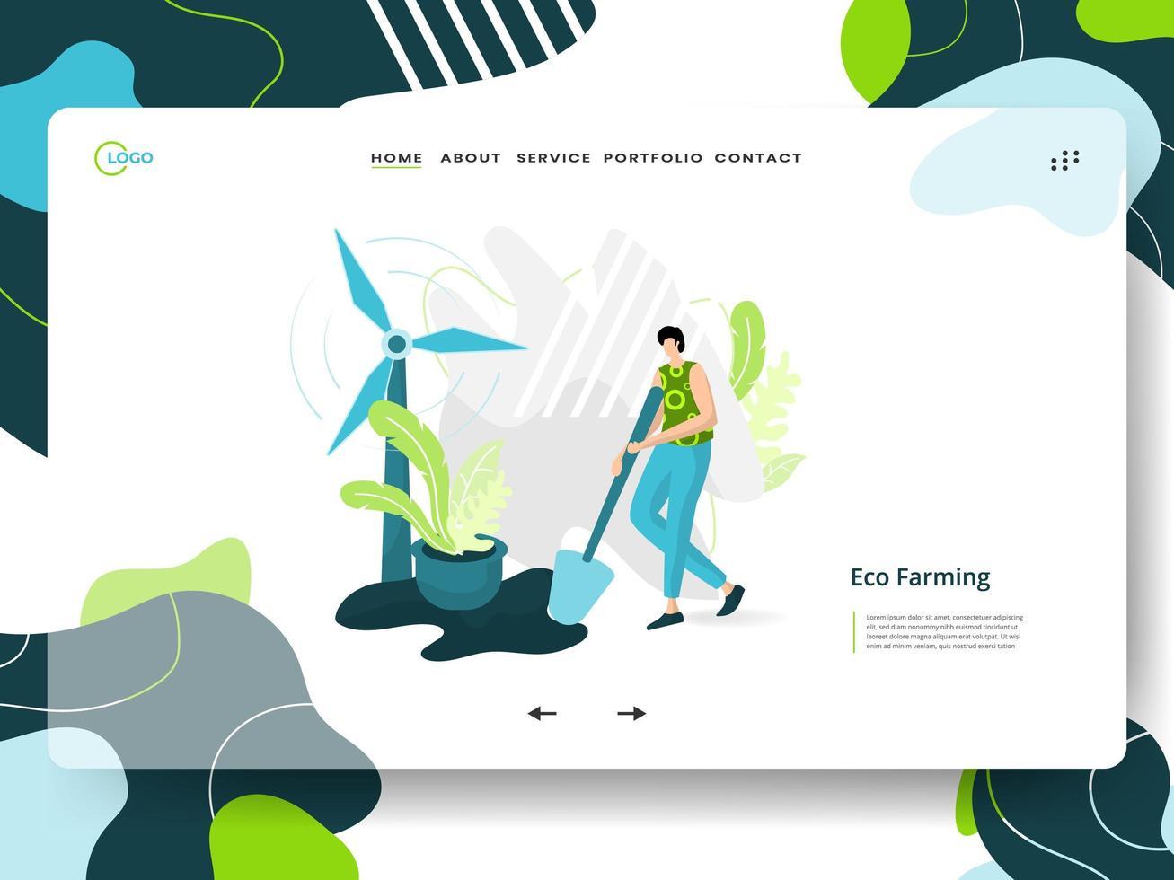 Eco Farming landing page vector