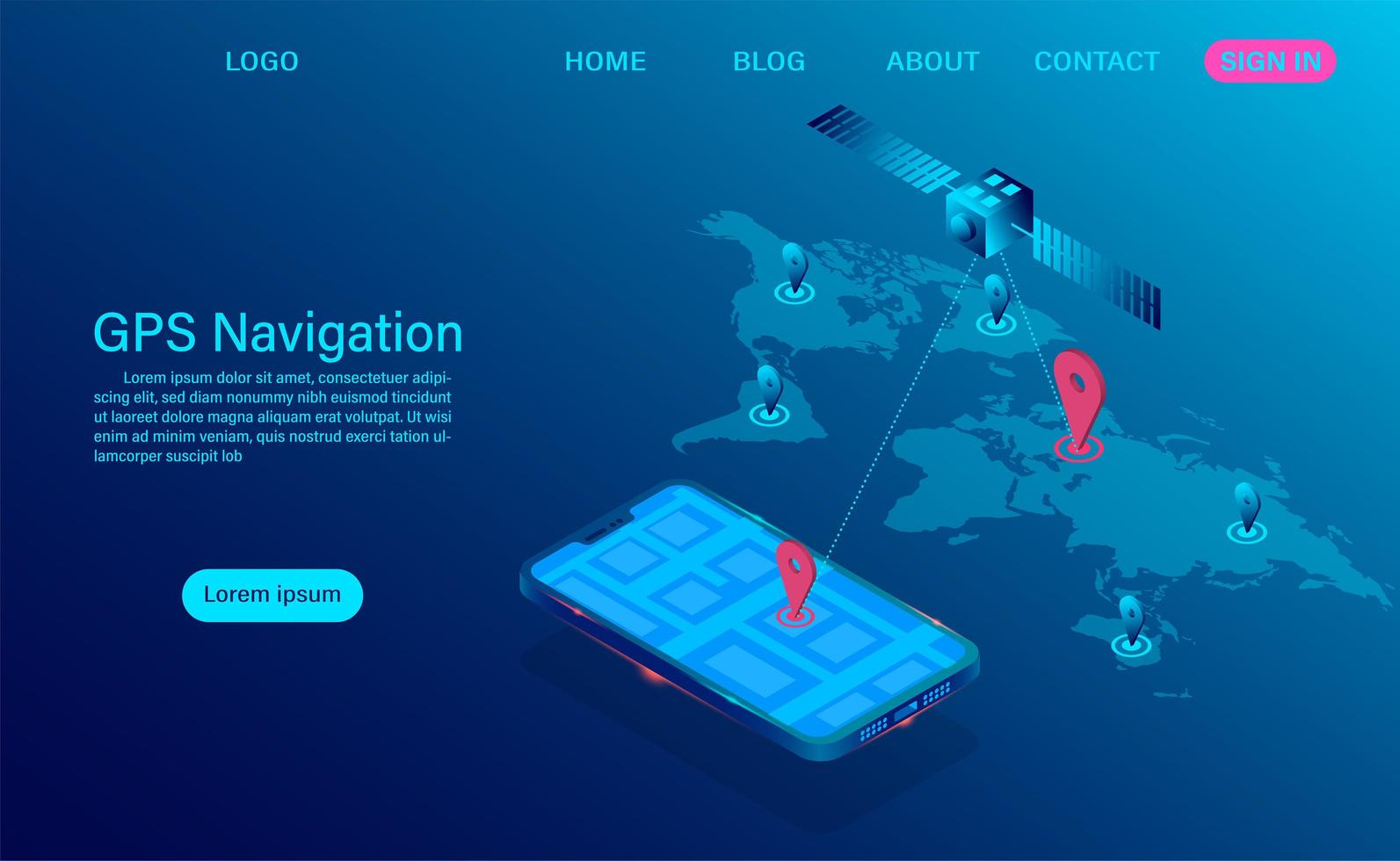 GPS-navigatieconcept met satelliet en telefoon vector